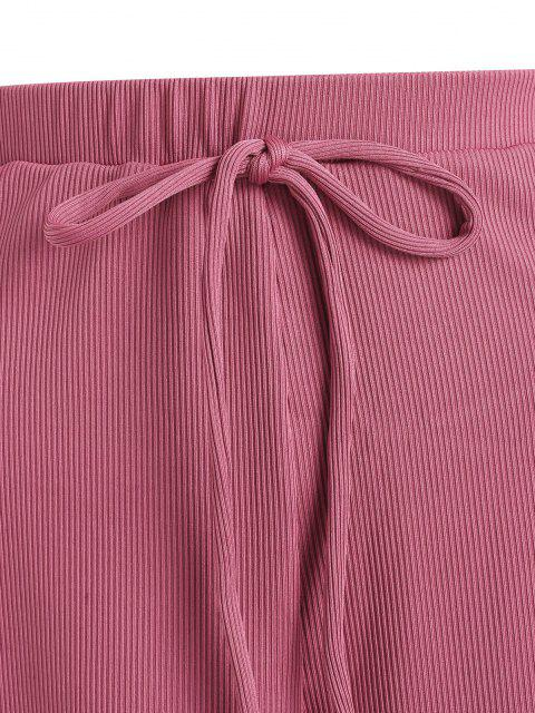 unique ZAFUL Plus Size Ribbed Bowknot Lettuce Trim Tulip Swim Shorts - LIGHT PINK XXL Mobile
