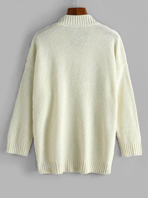 Suéter Largo Ombro Caído com Gola V - Branco Um Tamanho Mobile