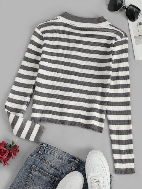 fashion Contrast Stripes Ribbed Zip Up Cardigan - MULTI-A ONE SIZE Mobile
