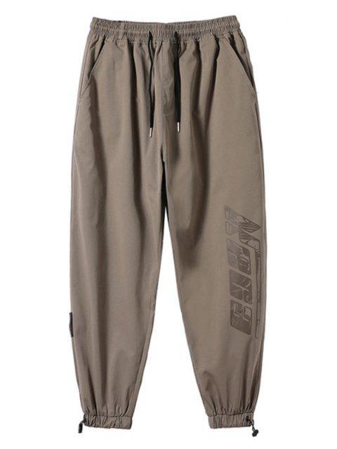Pantalones Rayados Estampado Letras - Marrón Claro XS Mobile