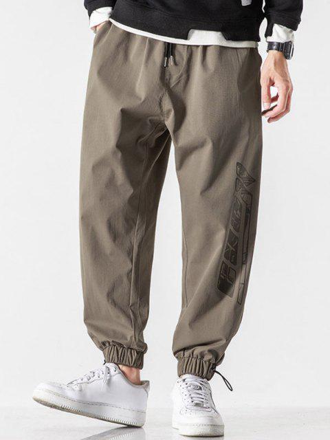 Pantalones Rayados Estampado Letras - Marrón Claro M Mobile