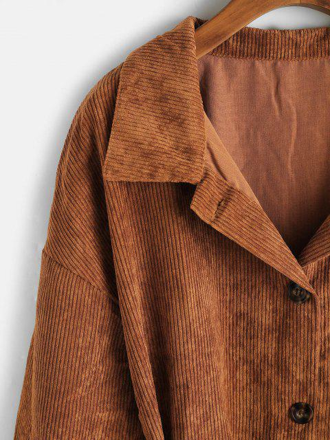 sale Button Up Belted Flap Detail Corduroy Shacket - COFFEE M Mobile