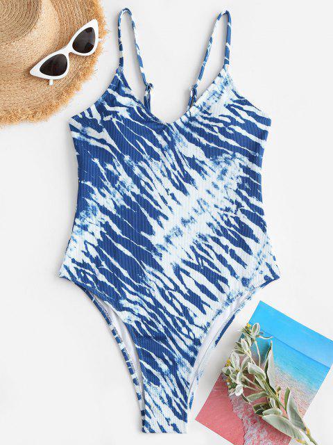 sale ZAFUL Tie Dye High Cut Cami One-piece Swimsuit - BLUE L Mobile