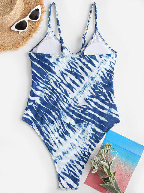 affordable ZAFUL Tie Dye High Cut Cami One-piece Swimsuit - BLUE XL Mobile