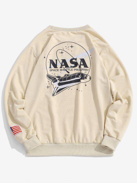 unique ZAFUL Space Shuttle Program Graphic Sweatshirt - LIGHT COFFEE XL Mobile