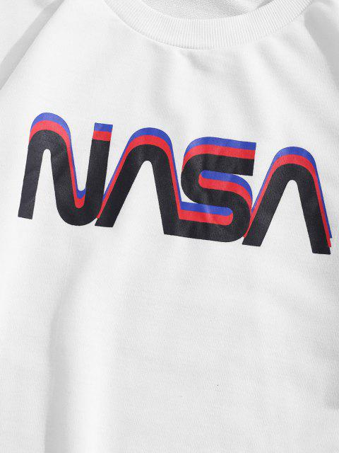 chic ZAFUL Space Shuttle Program Graphic Sweatshirt - WHITE L Mobile