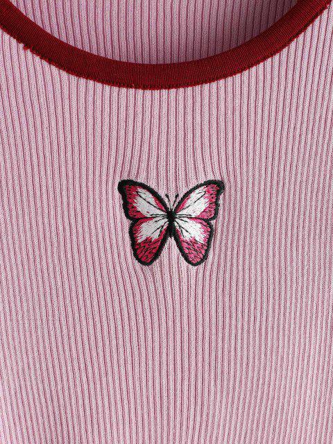 リブ付き蝶の刺繍コントラストトリムスリムセーター - ライトパープル ワンサイズ Mobile
