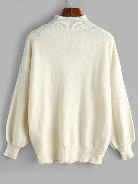 new High Neck Cable Knit Drop Shoulder Sweater - WHITE ONE SIZE Mobile