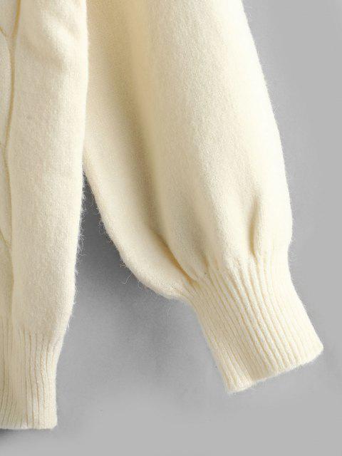 Zopfmusterpullover Hängender Schulter Sweatshirt - Weiß Eine Größe Mobile