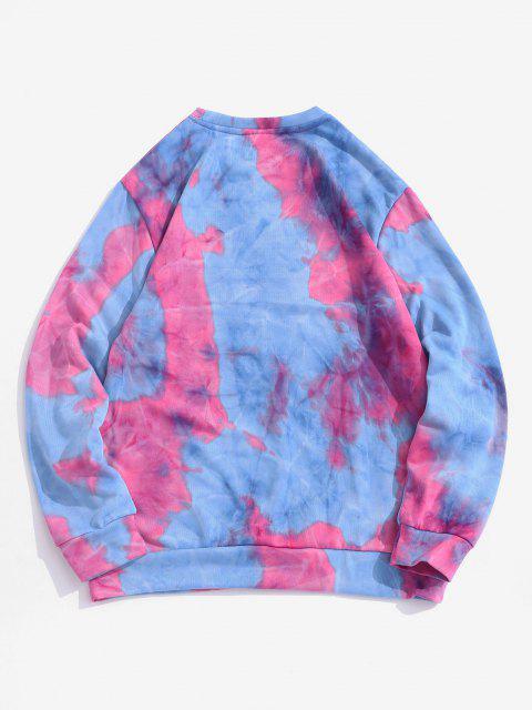 chic Contrast Tie Dye Printed Sweatshirt - PINK CUPCAKE XL Mobile