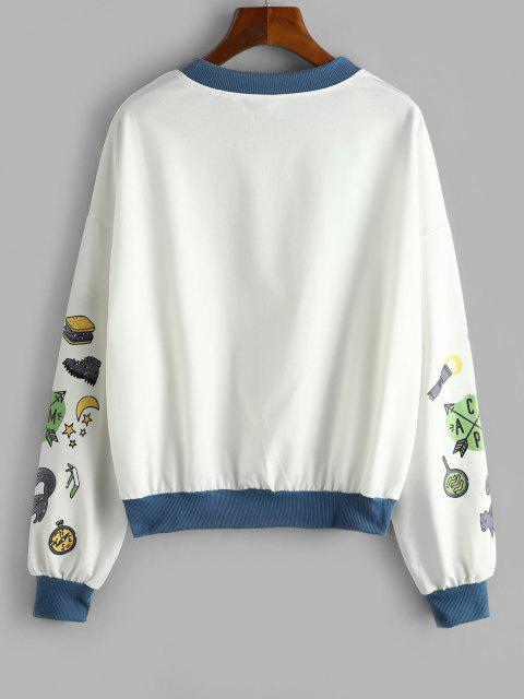 fancy Funny Moon and Sun Drop Shoulder Oversized Sweatshirt - WHITE L Mobile