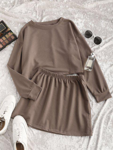 new Earth Tone Plain Cropped Two Piece Sweat Set - COFFEE L Mobile