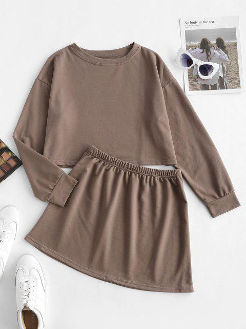 trendy Earth Tone Plain Cropped Two Piece Sweat Set - COFFEE S Mobile