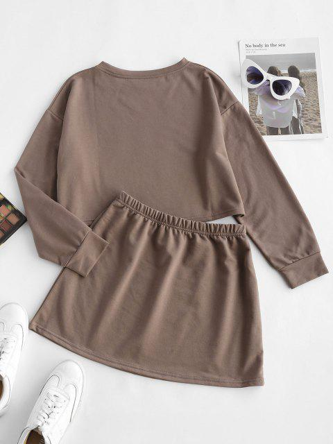 trendy Earth Tone Plain Cropped Two Piece Sweat Set - COFFEE M Mobile