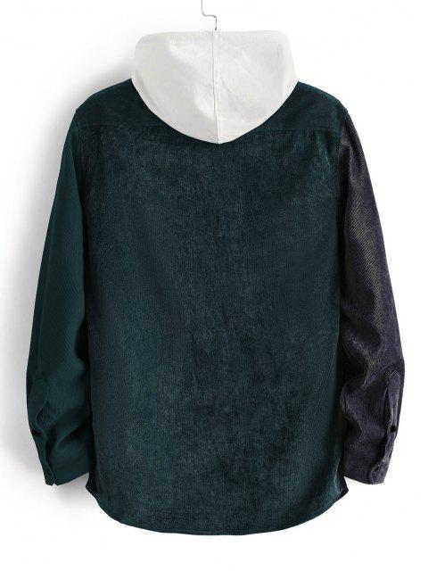 lady Colorblock Panel Long Sleeve Corduroy Shirt - DARK FOREST GREEN S Mobile