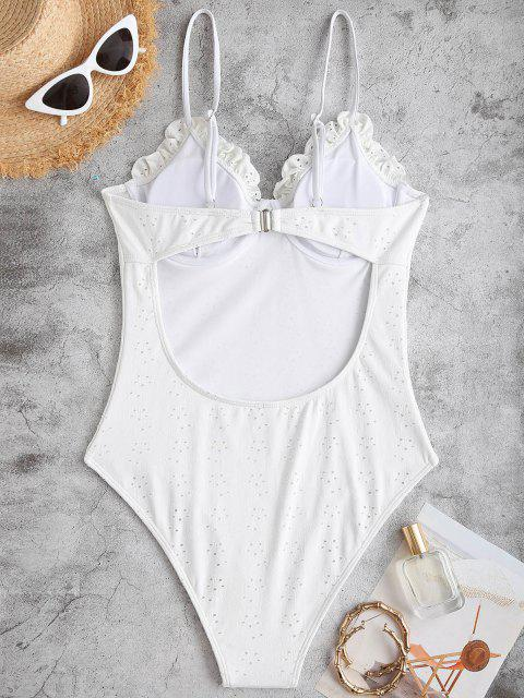 outfit ZAFUL Frilled Broderie Anglaise Underwire Bustier One-piece Swimsuit - WHITE S Mobile