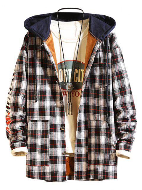 Plaid Fleece Colorblock Hooded Shirt Jacket - أسود L Mobile