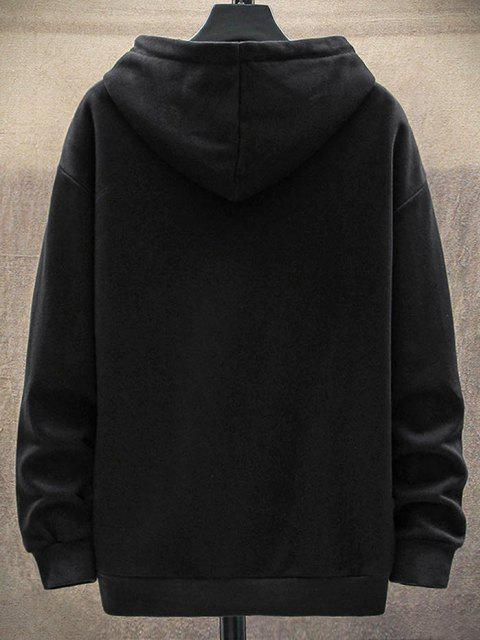 trendy Letter Graffiti Print Graphic Patched Hoodie - BLACK S Mobile