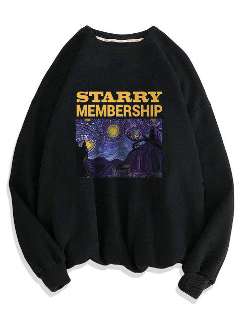 affordable Galaxy Letters Print Drop Shoulder Sweatshirt - BLACK 3XL Mobile