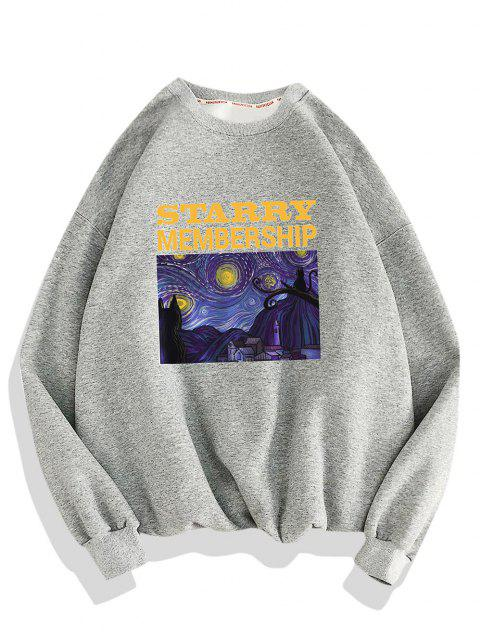 women Galaxy Letters Print Drop Shoulder Sweatshirt - LIGHT GRAY 3XL Mobile