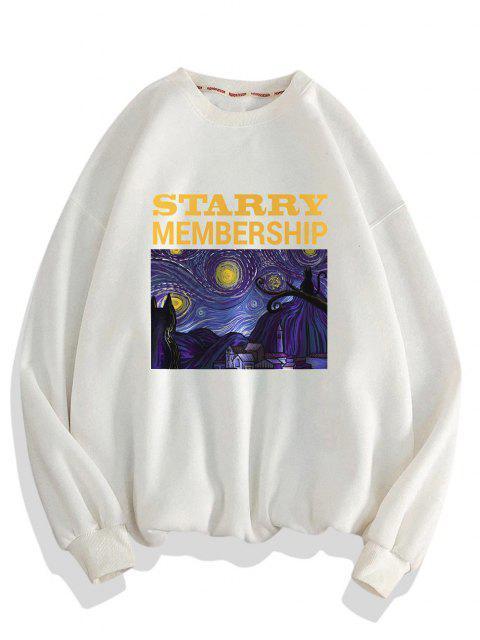 outfit Galaxy Letters Print Drop Shoulder Sweatshirt - WHITE 3XL Mobile