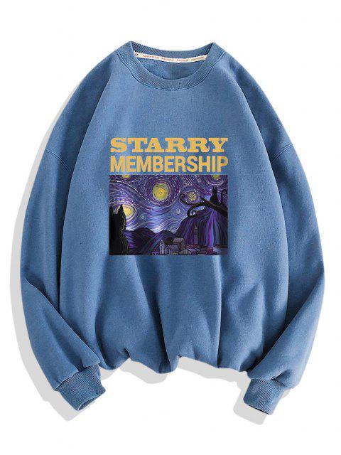 outfits Galaxy Letters Print Drop Shoulder Sweatshirt - BLUE KOI 3XL Mobile