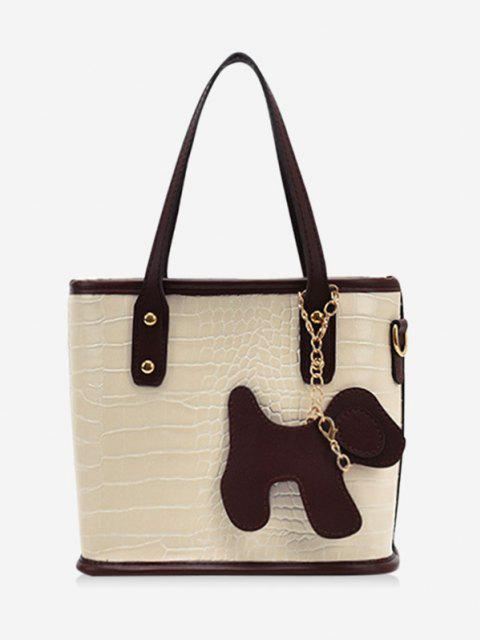 buy Dog Detail Animal Pattern PU Leather Tote Bag - WARM WHITE  Mobile