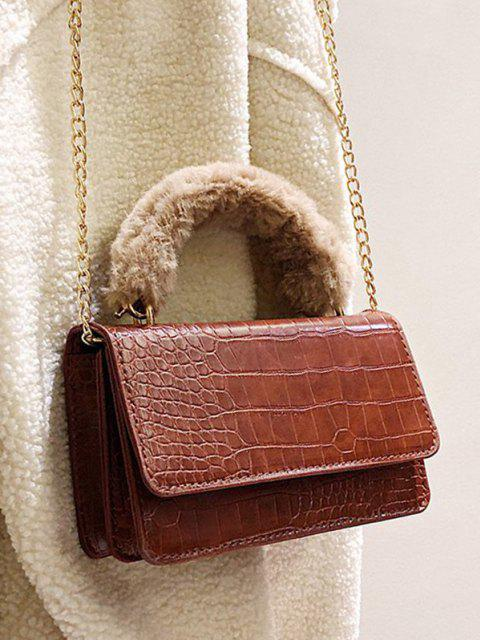 shop Animal Patterned PU Leather Flap Crossbody Bag - LIGHT BROWN  Mobile