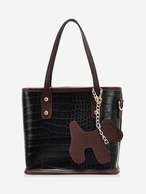 trendy Dog Detail Animal Pattern PU Leather Tote Bag - BLACK  Mobile