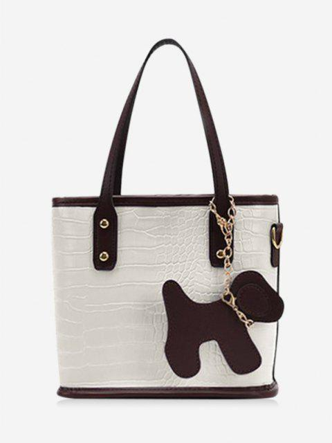 fashion Dog Detail Animal Pattern PU Leather Tote Bag - MILK WHITE  Mobile