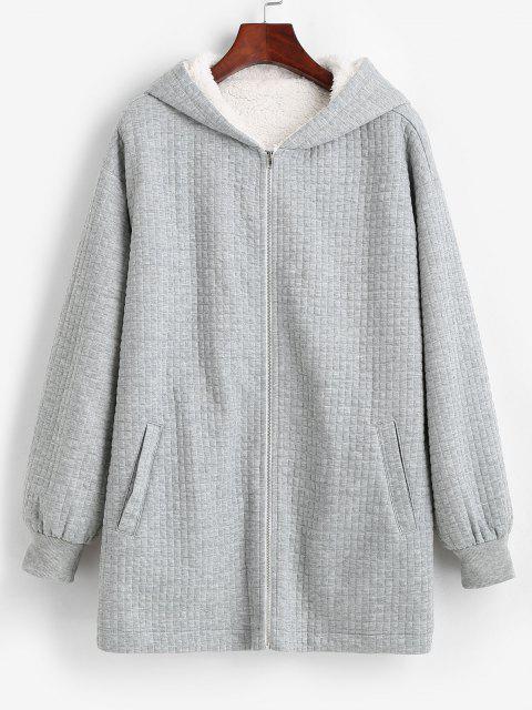 new ZAFUL Hooded Pockets Zip Up Fleece Lined Coat - LIGHT GRAY S Mobile