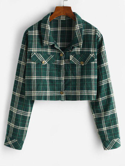 shop Cropped Flap Detail Flannel Plaid Shacket - DEEP GREEN S Mobile