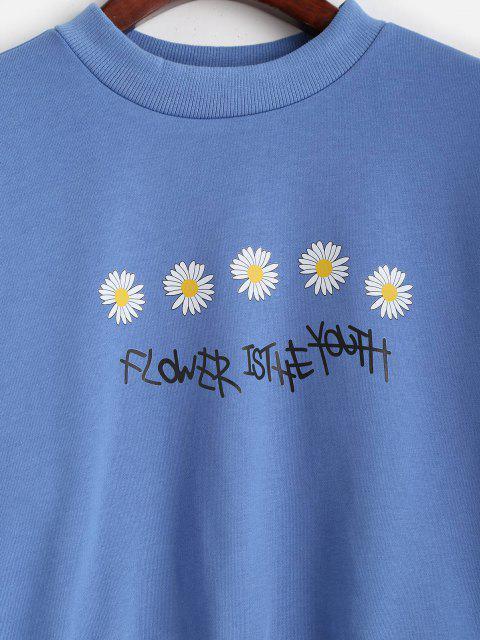 Sweat-shirtLettreGraphiqueMarguerite - Bleu Ciel XL Mobile