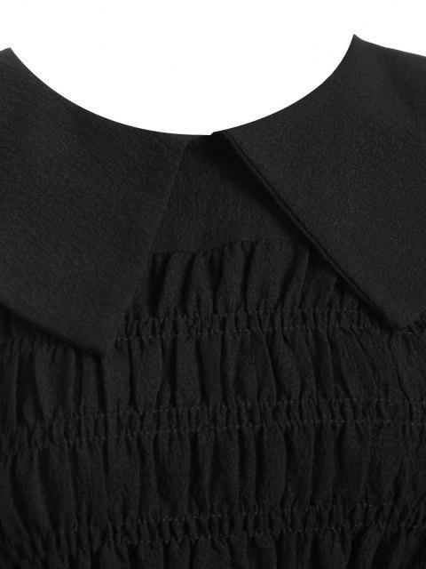 latest Smocked Crinkle Peplum Blouse - BLACK ONE SIZE Mobile