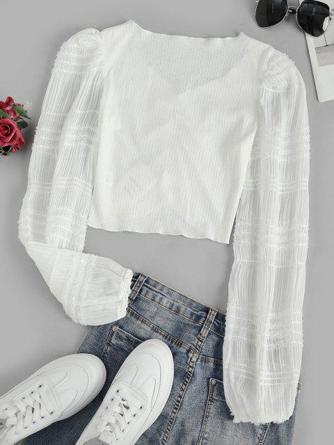 women Sequins Sheer Sleeve Frilled Ruched Blouse - WHITE L Mobile