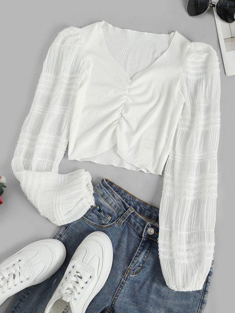 outfit Sequins Sheer Sleeve Frilled Ruched Blouse - WHITE M Mobile