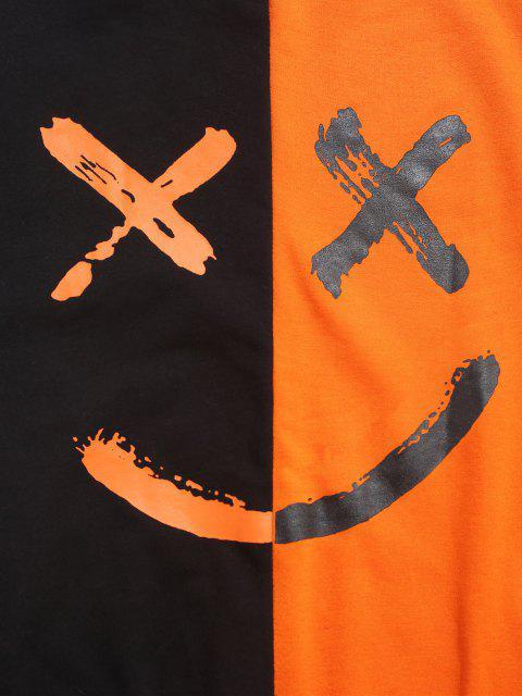 Sweat à Capuche SloganContrastéLettreImprimé - Orange M Mobile