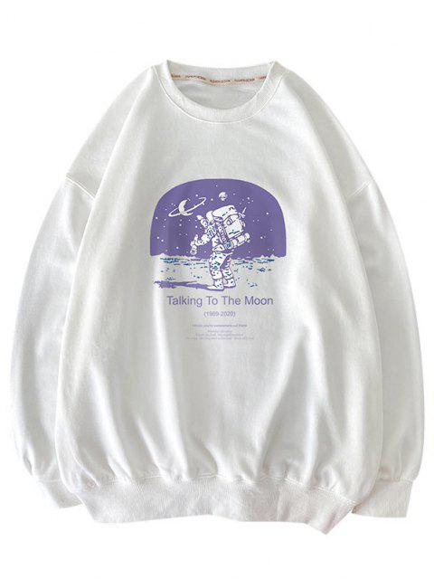 outfit Letters Astronaut Print Graphic Sweatshirt - WHITE M Mobile
