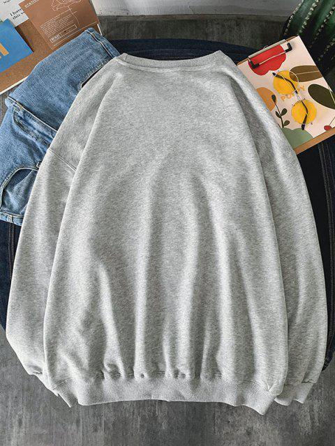 unique Letters Astronaut Print Graphic Sweatshirt - LIGHT GRAY S Mobile