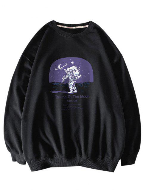 womens Letters Astronaut Print Graphic Sweatshirt - BLACK S Mobile