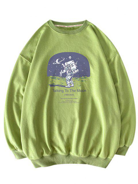 affordable Letters Astronaut Print Graphic Sweatshirt - LIGHT GREEN L Mobile