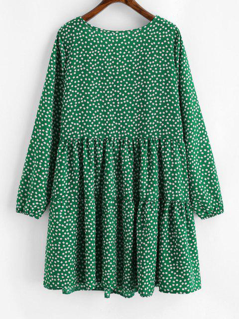 women Tiny Floral Mock Buttons Long Sleeve Dress - DEEP GREEN M Mobile