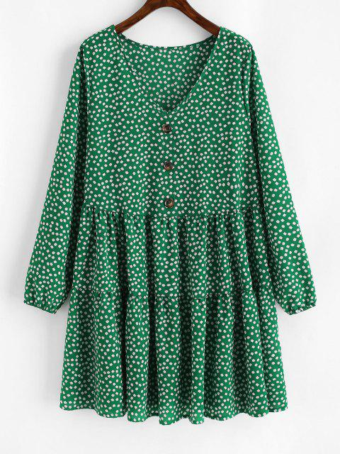 fashion Tiny Floral Mock Buttons Long Sleeve Dress - DEEP GREEN S Mobile