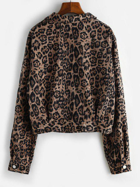 Leopard Button Up Corduroy Shacket - قهوة XL Mobile