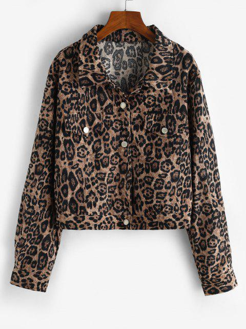 Leopard Button Up Corduroy Shacket - قهوة S Mobile