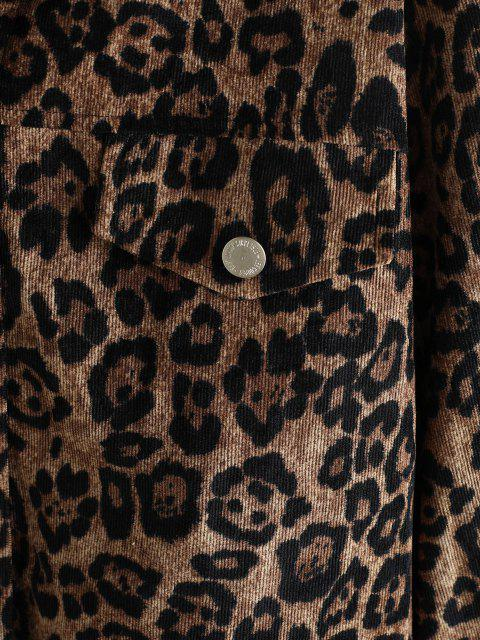 Maglione di Velluto a Coste Stampato Leopardo con Bottoni - caffè S Mobile
