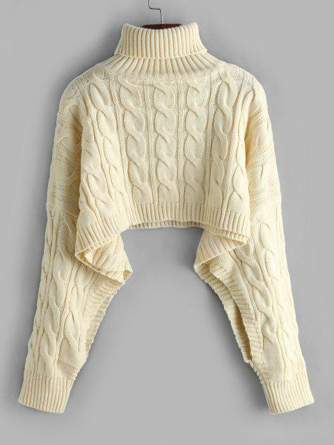 online Turtleneck Cropped Cable Knit Sweater - LIGHT COFFEE ONE SIZE Mobile