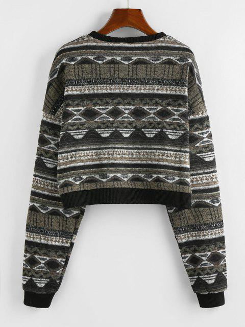 affordable ZAFUL Drop Shoulder Crew Neck Tribal Graphic Sweater - BLACK S Mobile