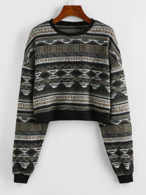 buy ZAFUL Drop Shoulder Crew Neck Tribal Graphic Sweater - BLACK M Mobile