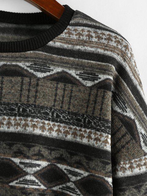 sale ZAFUL Drop Shoulder Crew Neck Tribal Graphic Sweater - BLACK L Mobile